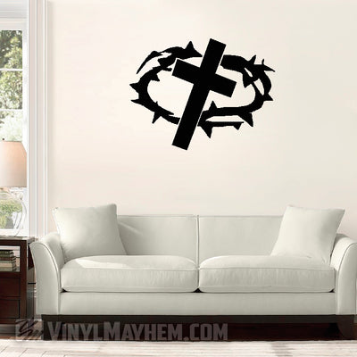 Cross with Crown of Thorns vinyl sticker