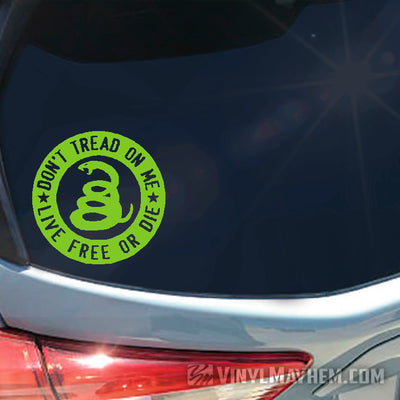 Don't Tread On Me Live Free Or Die circle vinyl sticker