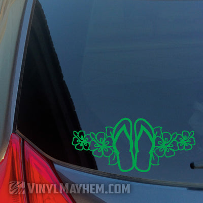 Flip Flops with Hawaiian Flowers vinyl sticker