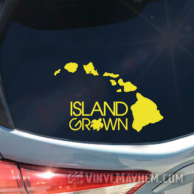 Hawaiian Island Grown with Turtle vinyl sticker