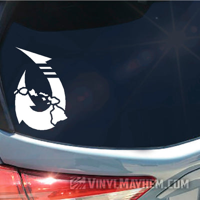 Hawaiian Islands fish hook vinyl sticker