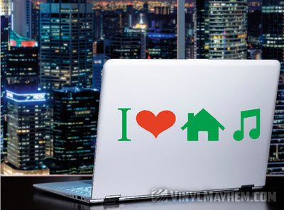 I Love House Music two-color vinyl sticker