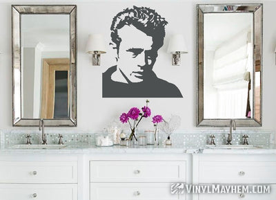 James Dean wearing sweater vinyl sticker