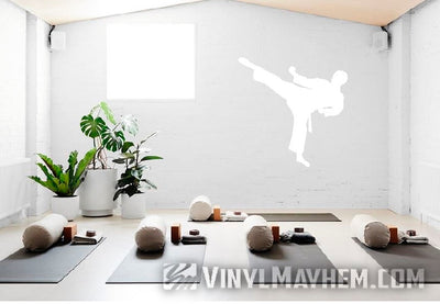 Karate side kick silhouette vinyl sticker