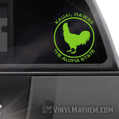 Kauai Hawaii The Aloha State rooster vinyl sticker
