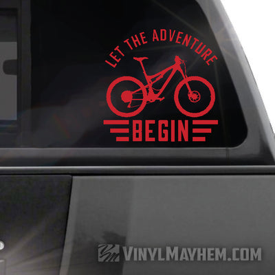 Let The Adventure Begin Mountain Biking vinyl sticker