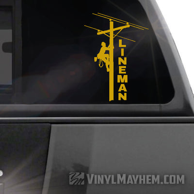 Lineman vertical text vinyl sticker