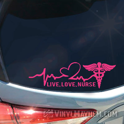Live Love Nurse heartbeat vinyl sticker
