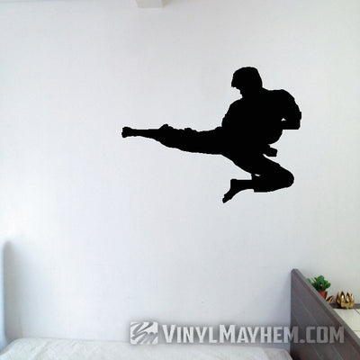 Martial arts flying side kick silhouette vinyl sticker