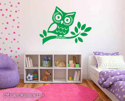 Owl on Branch vinyl sticker