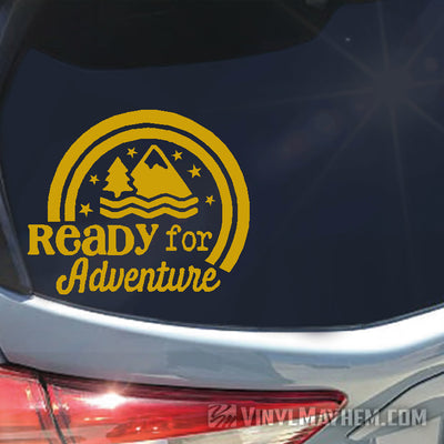 Ready For Adventure mountains vinyl sticker