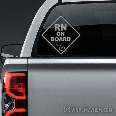 RN on Board with stethoscope caution sign vinyl sticker