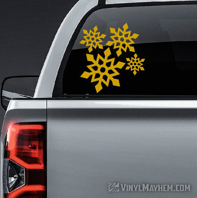 Snowflake angular style vinyl sticker sheet set