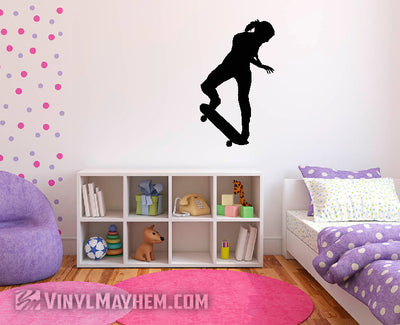Skateboard girl kick turn silhouette vinyl sticker