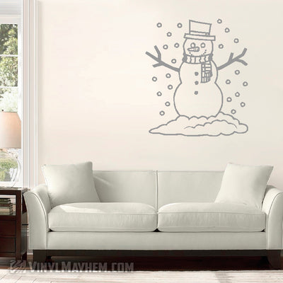 Snowman with snow falling vinyl sticker