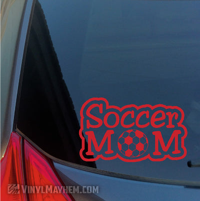 Soccer Mom text outlined vinyl sticker