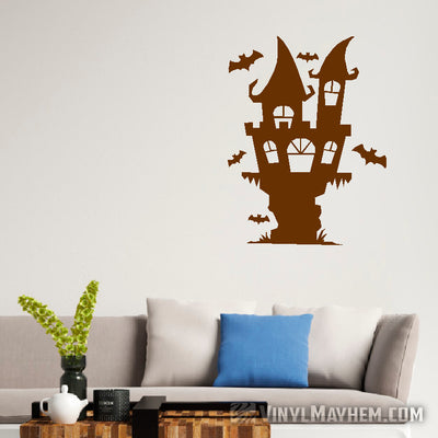 Spooky Halloween castle with bats vinyl sticker