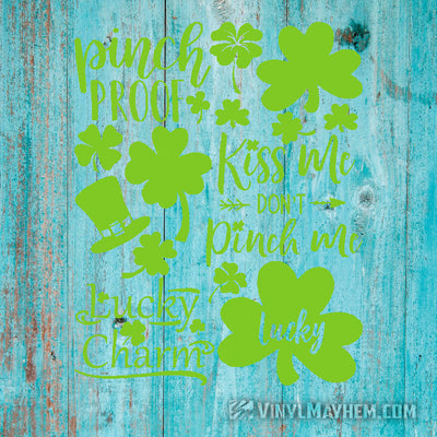 St.Patrick's Day Irish four leaf clover shamrock vinyl sticker sheet set