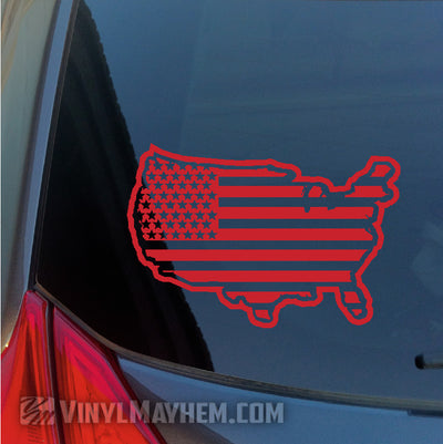 USA Flag outlined vinyl sticker