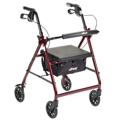 Lightweight 4-Wheel Aluminum Folding Rollator RED