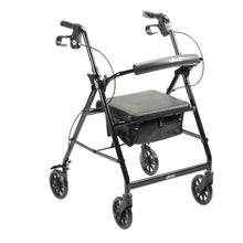 Load image into Gallery viewer, Lightweight 4-Wheel Aluminum Folding Rollator BLACK