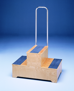 Master two step stool with handrails