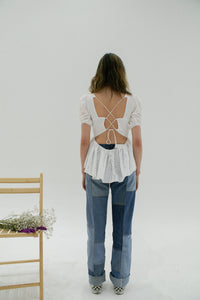 Eir Top | Milk Eyelet Tops ALLINA LIU