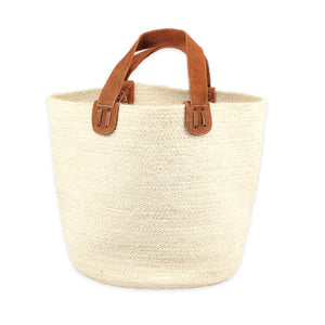 Jute Tote Bag with Suede Handles