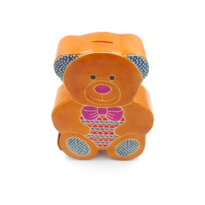Leather Money Box - Teddy Bear