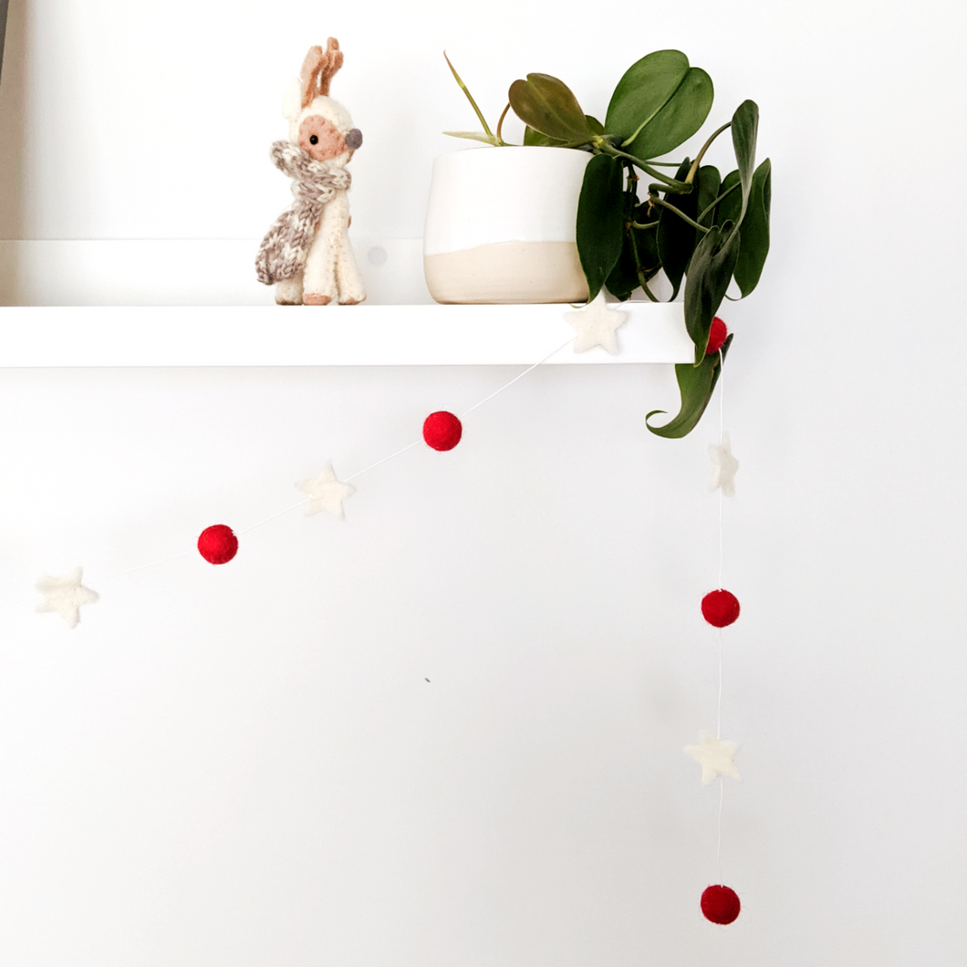 Christmas Decor - Felt Star Garland