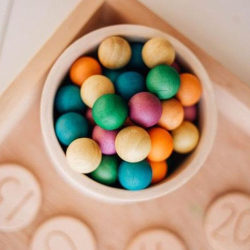 Set of 50 Wooden Balls - Coloured