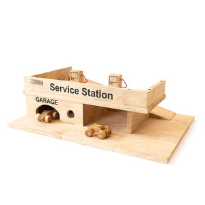Wooden Service Station with Cars