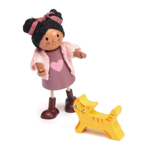 Wooden Doll - Ayana and her Cat