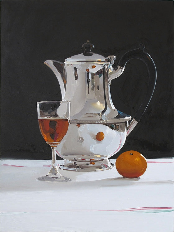 Silver Coffee Pot with Wine and Mandarin