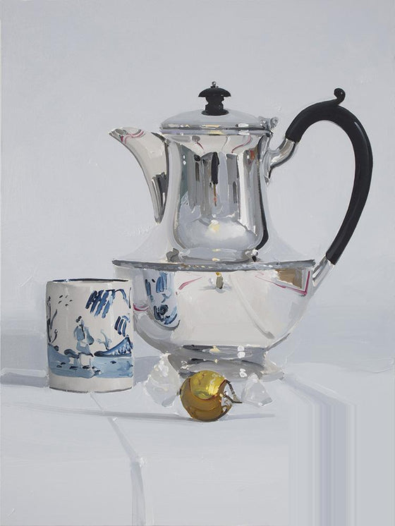 Silver Coffee pot with cup and white Chocolate