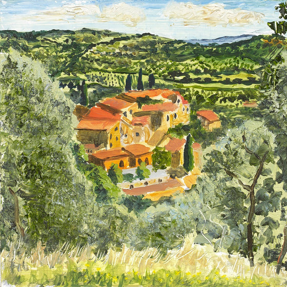 Umbrian Roofs, Framed by Olives