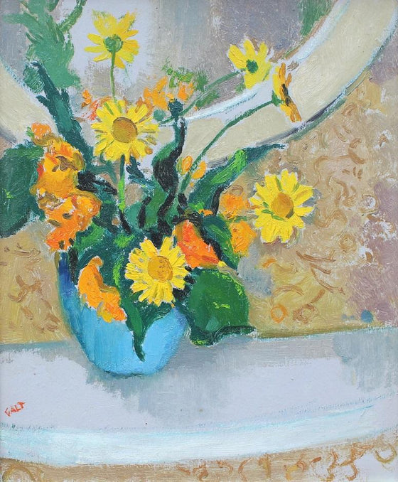 Orange & Yellow Flowers in Blue Vase