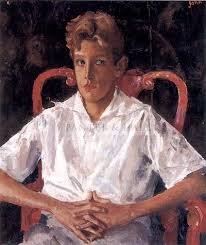 Study of boy on a red lacquer chair Augustus John RA