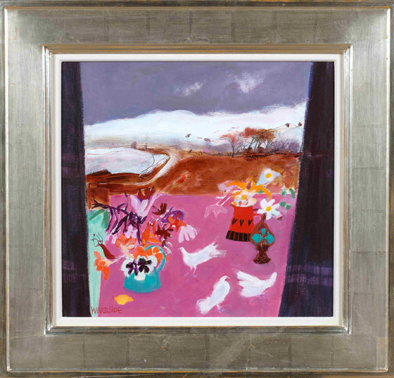 Contemporary Scottish Landscape by Scottish artist Christine Woodside 'Early Snow, Fife'