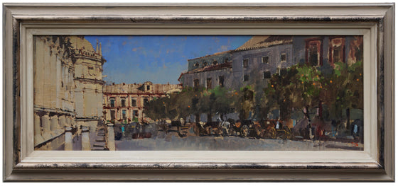 David awyer_Carriages & Orange Trees, Seville framed