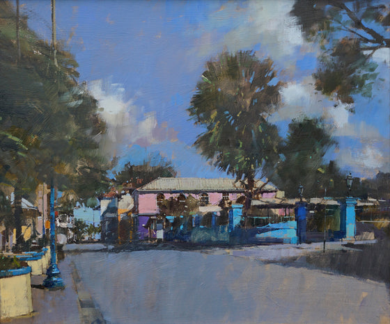 David Sawyer The Pink House, Speightstown, Barbados framed