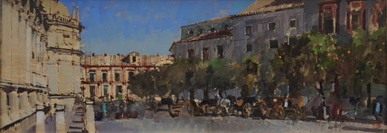 David awyer_Carriages & Orange Trees, Seville unframed
