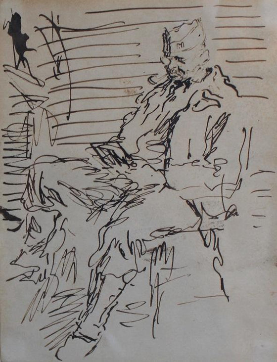 Seated Soldier Reading
