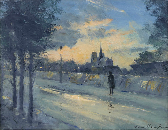 A misty view of the Left Bank, Paris with a view of Notre Dame beyond, Oil by British Impressionist painter Ian Houston, a pupil of Edward Seago