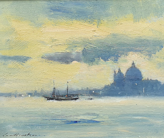 A view of a motor sailing vessel arriving in the Lagoon Venice with a view of San Giorgio Maggiore beyond Oil painting by British Impressionist Ian Houston at Panter & Hall Gallery, London