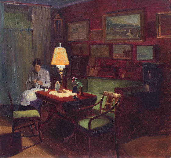 Sewing by Lamplight