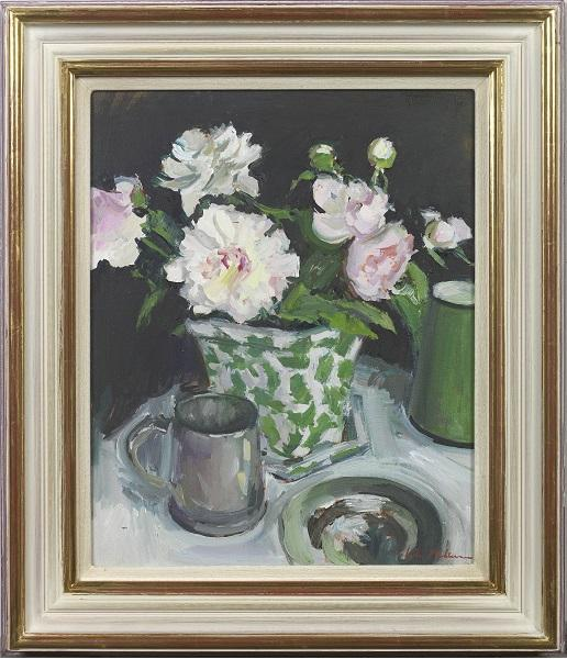 Peonies in a Cache Pot (Framed)