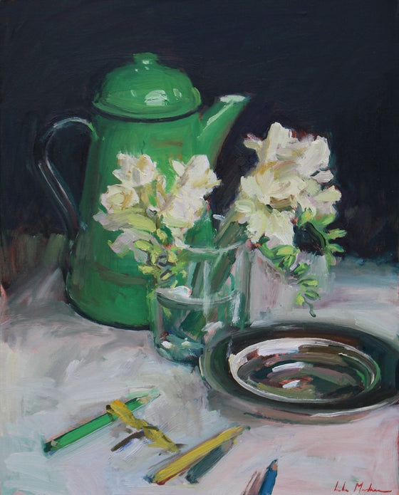 Still Life with Freesias, Green Jug and Silver