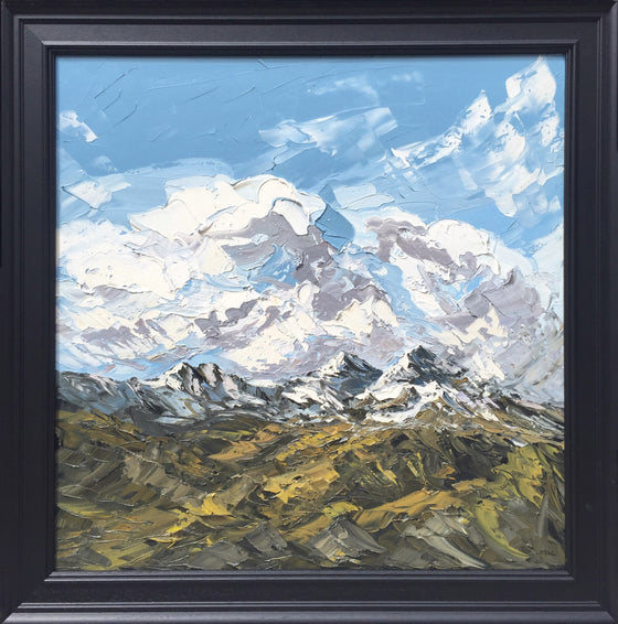Martin Llewellyn Snowcapped Mountains, North Wales framed