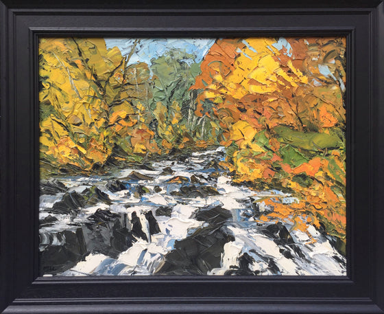 Martin Llewellyn Swallow Falls at Autumn Welsh Artist Martin Llewellyn Painting Snowdonia in the style of Kyffin Williams, contemporary Welsh Art